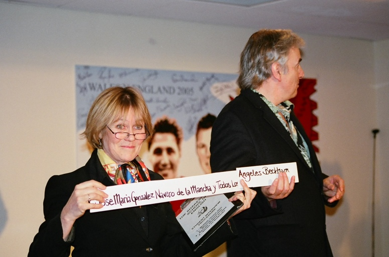 Dede and me doing the Language School sketch, IATEFL Cardiff, 2005 at the Macmillan party, Millennium Stadium