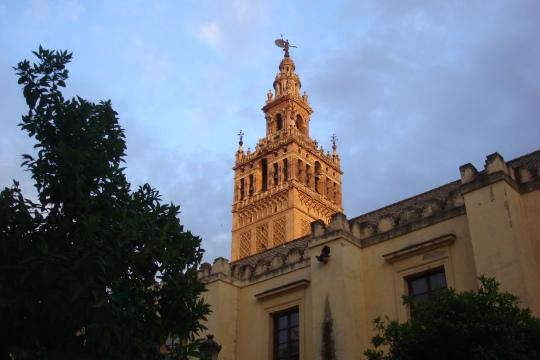 La Giralda in Seville, at night