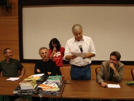 Macrom conference, Brasov Romania, 2007; Scott Thornbury, Luke Prodromou, me, Philip Kerr. Oana Nica standing  behind us.