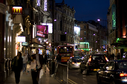 Shaftesbury Avenue. International House was at number 40, on the right of the picture.