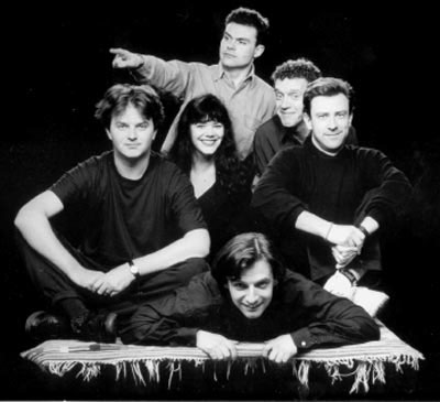 The Comedy Store Players: Paul Merton on the left, Richard Vranch lying down