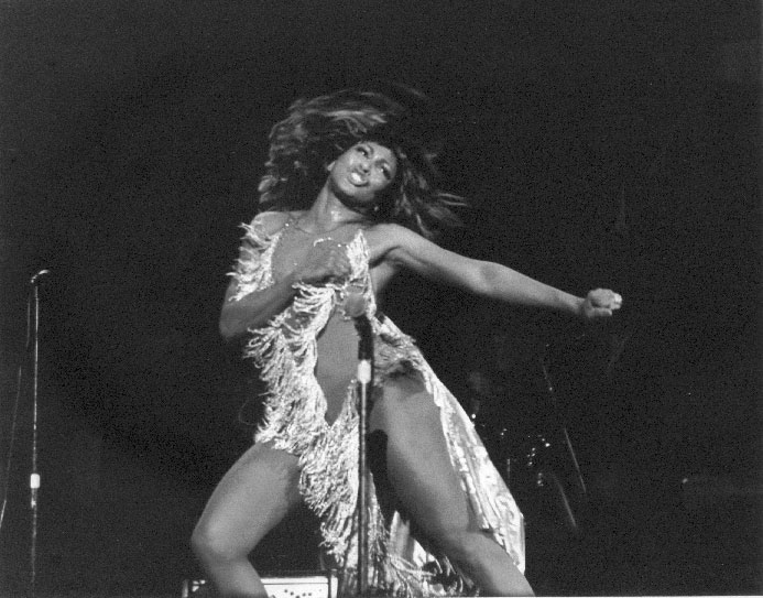 Tina Turner - she'll get a chill if she insists on dressing like this for outdoor gigs...
