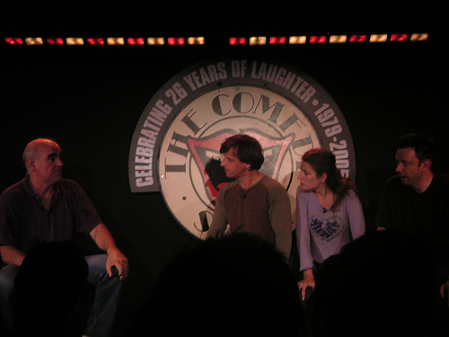 Steve Frost, Richard Vranch and Lee Simpson doing Experts onstage at the Comedy Store. I'm afraid I don't know the name of the woman in the middle. Can anyone help?